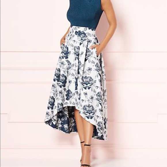 200a736fb51 Eva Mendes NYC Hi-low floral midi skirt. M 5bd669509519962e4517f278